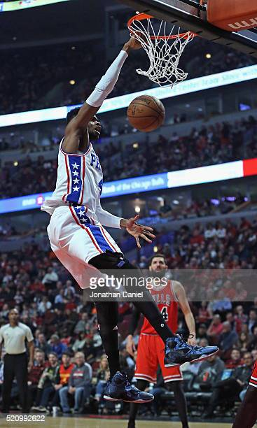 Nerlens Noel of the Philadelphia 76ers dunks against the Chicago Bulls at the United Center on April 13 2016 in Chicago Illinois NOTE TO USER User...