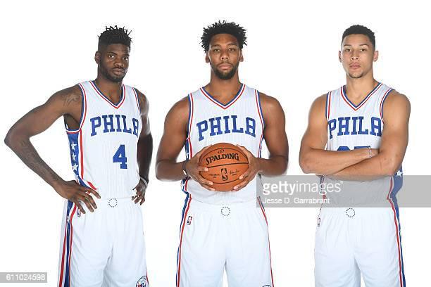 Nerlens Noel of the Philadelphia 76ers Jahlil Okafor of the Philadelphia 76ers and Ben Simmons of the Philadelphia 76ers pose for a portrait at the...