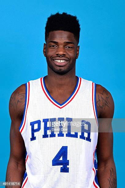 Nerlens Noel of the Philadelphia 76ers poses for a head shot during media day on September 28 2015 in Galloway New Jersey NOTE TO USER User expressly...