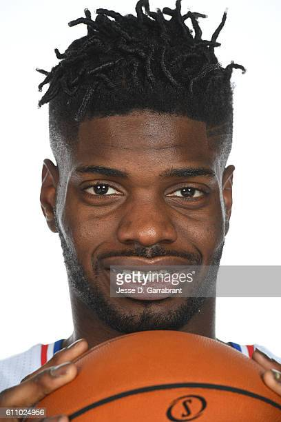 Nerlens Noel of the Philadelphia 76ers poses for a portrait at the Philadelphia 76ers Training Complex during NBA media day on September 26 2016 in...