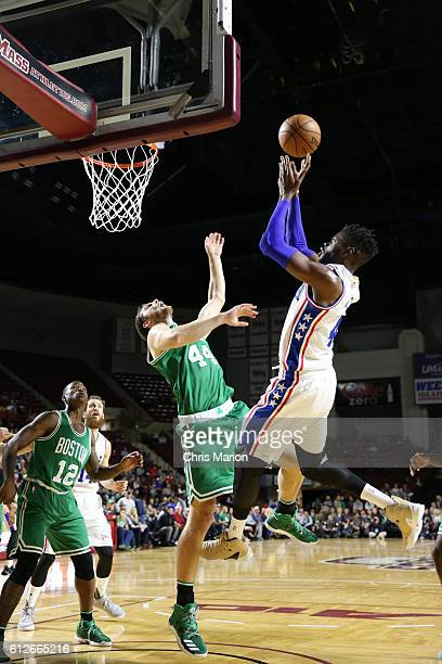 Nerlens Noel of the Philadelphia 76ers shoots the ball against the Boston Celtics during a preseason game on October 4 2016 at the Mullins Center in...