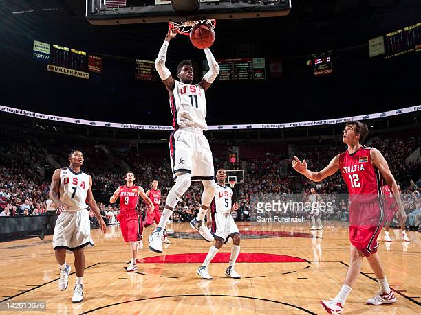 Nerlens Noel of the USA Junior Select Team dunks on against Dario Saric of the World Select Team during the 2012 Hoop Summit on April 7 2012 at the...