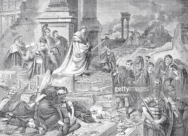 Nero amid the ruins of Rome Nero was suspected of kindling the fire which devastated Rome in AD 64