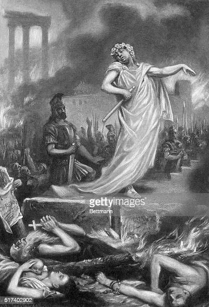Nero at the burning of Rome After a painting by S J Ferris