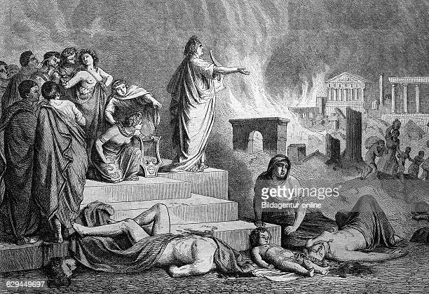 Nero during the burning of rome italy historical engraving 1888