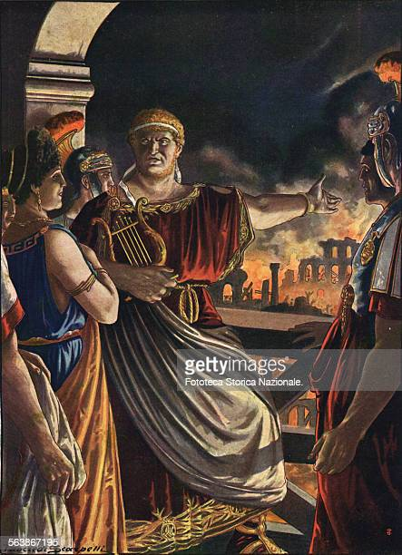 'Nero from the top of the tower of Maecenas contemplates long the horrendous spectacle singing The destruction of Troy' July 18 27 64 AD Illustration...