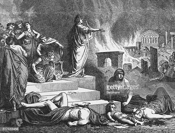 Nero Roman emperor AD 5468 Nero lyre in hand watches Rome burn Nero was accused of kindling the fire in 64 AD which destroyed much of Rome