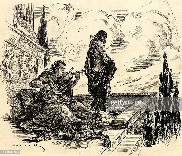 Nero Roman Emperor fiddles while Rome burns