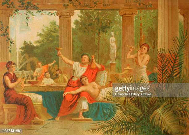 Nero Roman emperor JulioClaudian dynasty Bacchanalia The emperor participating in a bacchanal Chromolithography La Civilizacion volume II 1881