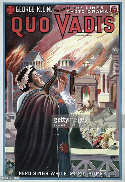 'Nero sings while Rome burns' Motion picture poster showing Nero playing lyre while citizens of Rome flee the fire National Printing Engraving...