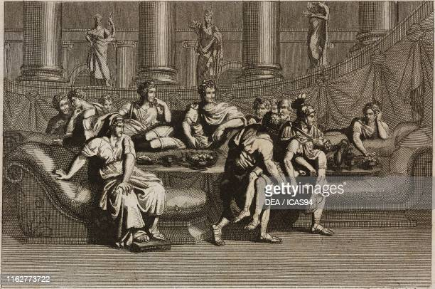 Nero witnessing the death of Britannicus poisoned during a banquet Plate 10 engraving by Persichini from a drawing by Pinelli from The History of the...