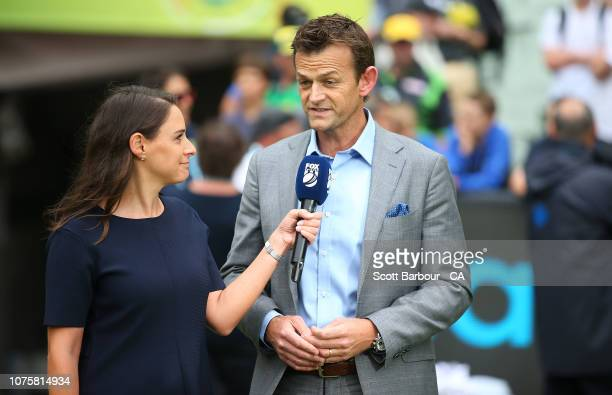 Neroli Meadows from Fox Sports interviews Adam Gilchrist after day five of the Third Test match in the series between Australia and India at...