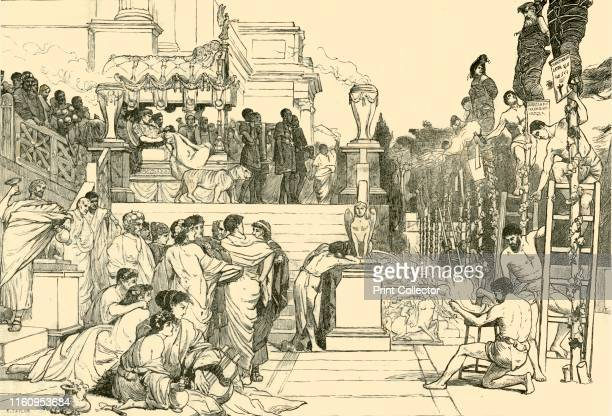 'Nero's Torches Burning of Christians at Rome' 1890 From Cassell's Illustrated Universal History Vol II Rome by Edmund Ollier [Cassell and Company...