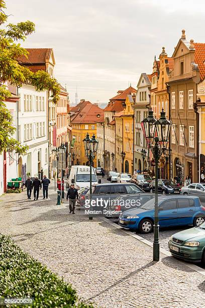 nerudova street below castle - merten snijders stock pictures, royalty-free photos & images