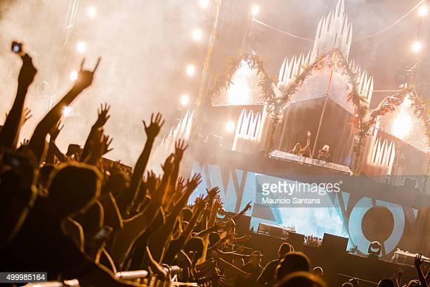 Nervo performs during EDC Electric Daisy Carnival at Autodromo de Interlagos on December 04 2015 in Sao Paulo Brazil