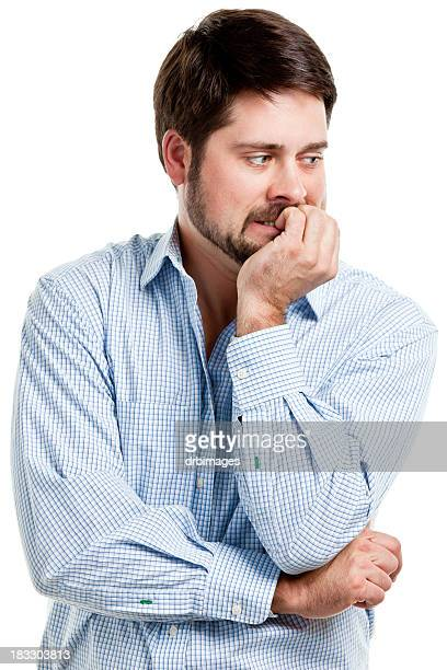 Nervous Man Biting Fingernails