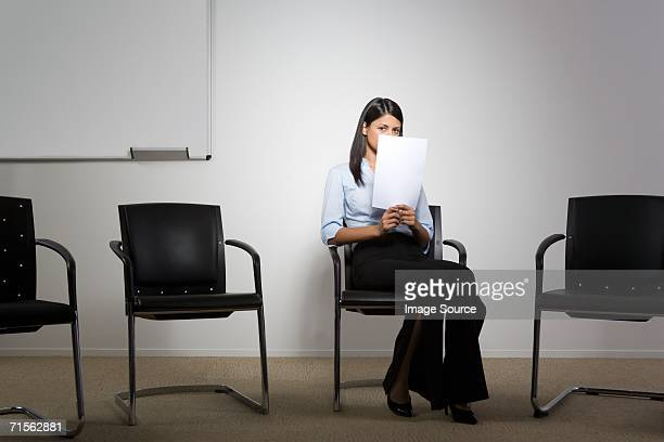 nervous office worker - verlegen stockfoto's en -beelden
