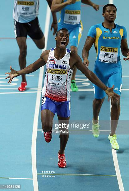 Nery Brenes of Costa Rica celebrates as he wins gold in the Men's 400 Metres Final during day two of the 14th IAAF World Indoor Championships at the...