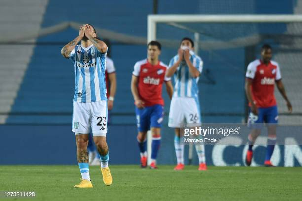 Nery Dominguez laments during a group F match of Copa CONMEBOL Libertadores 2020 between Racing and Nacional at Juan Domingo Peron Stadium on...