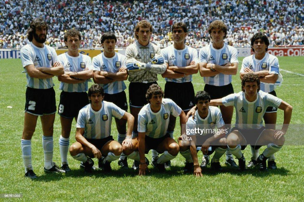 Nery PUMPIDO (GK), Sergio BATISTA, Jose BROWN, Jorge BURRUCHAGA, Jose CUCIUFFO, Diego MARADONA, Jorge VALDANO, Hector ENRIQUE, Ricardo GIUSTI, Julio OLARTICOECHEA, Oscar RUGGERI of Argentina line up before the FIFA World Cup final on 29 June 1986 at the Azteca Stadium in Mexico City. Argentina won the match 3-2.