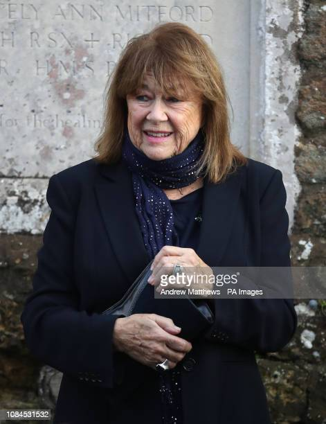 Nerys Hughes arrives at All Hallows Church in Tillington West Sussex for the funeral of actress June Whitfield