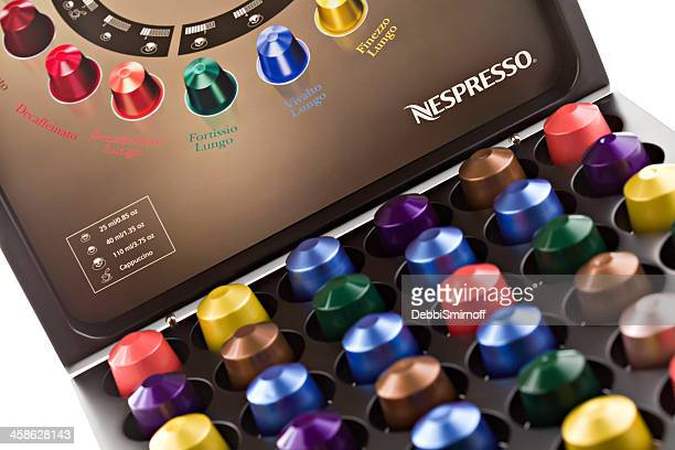 Nespresso Coffee Capsules In Storage Box.