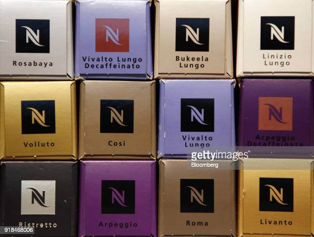 Nespresso coffee capsules stand on display following a news conference announcing Nestle SA's full year results in Vevey Switzerland on Thursday Feb...