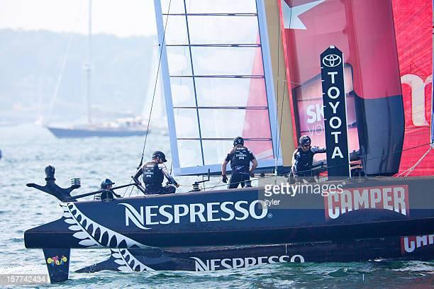 nespresso racing yacht crew - catamaran race stock photos and pictures