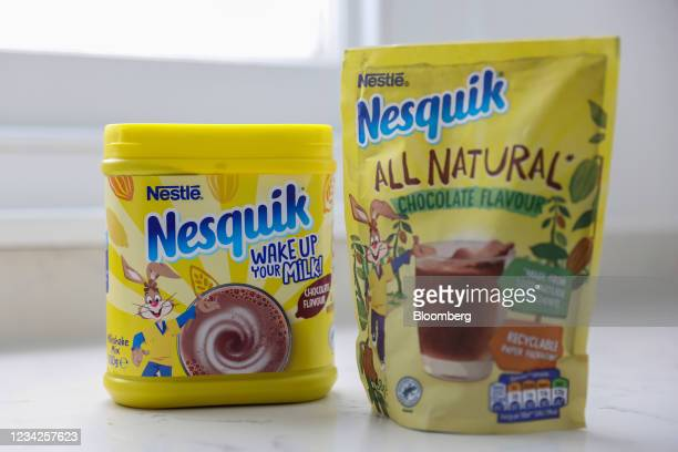 Nesquik chocolate milkshake mix products, manufactured by Nestle SA, arranged in London, U.K., on Monday, July 26, 2021. Nestle report their...