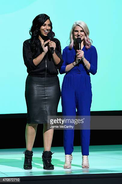 Nessa and Carly Aquilino speak onstage at the MTV 2015 Upfront presentation on April 21 2015 in New York City