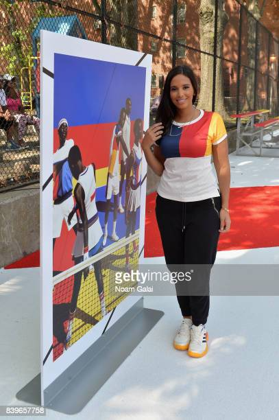 Nessa attends adidas Tennis Pharrell Williams Don't Be Quiet Please Event at Frederick Johnson Tennis Courts on August 26 2017 in New York City