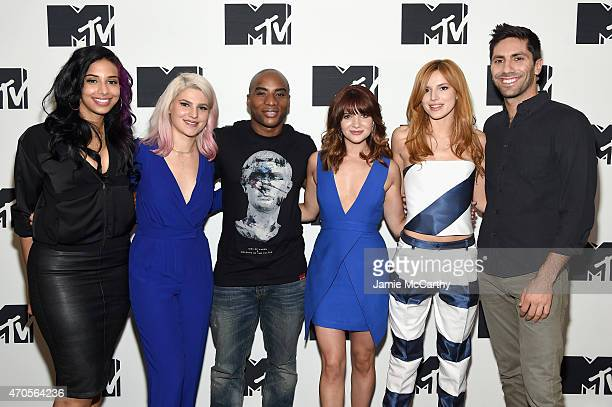 Nessa Carly Aquilino Charlamagne Tha God Katie Stevens Bella Thorne and Nev Schulman attend the MTV 2015 Upfront presentation on April 21 2015 in New...
