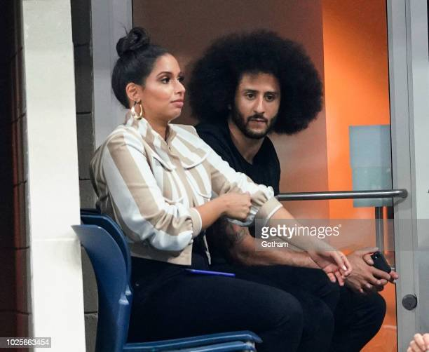 Nessa Diab and Colin Kaepernick attend day 5 of the 2018 tennis US Open on Arthur Ashe stadium at the USTA Billie Jean King National Tennis Center on...