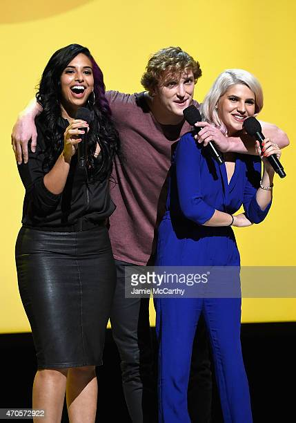 Nessa Logan Paul and Carly Aquilino speak onstage at the MTV 2015 Upfront presentation on April 21 2015 in New York City