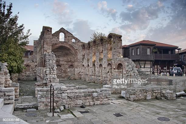 Nessebar - ancient town on Bulgarian coast. Saint Sophia's Church ruins