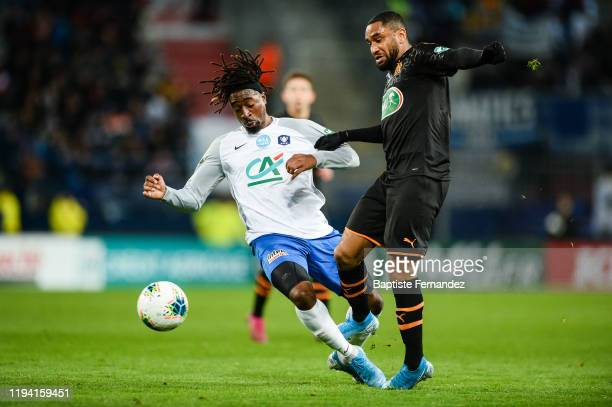 Nessemon William SEA of Granville and Jordan AMAVI of Marseille during the French Cup Soccer match between US Granville and Olympique de Marseille at...
