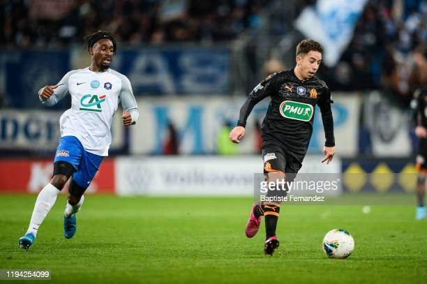 Nessemon William SEA of Granville and Maxime LOPEZ of Marseille during the French Cup Soccer match between US Granville and Olympique de Marseille at...
