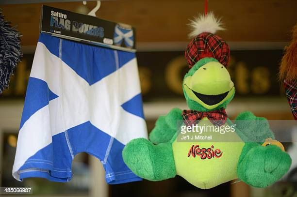 Nessie merchandise on display in a shop in Drumnadrochit on April 16, 2014 in Scotland. A referendum on whether Scotland should be an independent...
