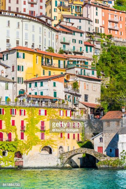 nesso, lake como, italy - como italy stock pictures, royalty-free photos & images