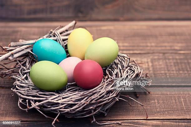 Nest full of handmade Easter eggs. Debica, Poland