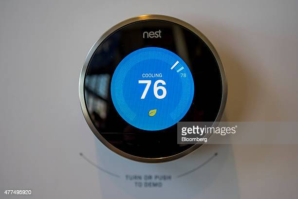 A Nest Labs Inc thermostat is displayed during an event in San Francisco California US on Wednesday June 17 2015 Google Inc's Nest Labs rolled out an...