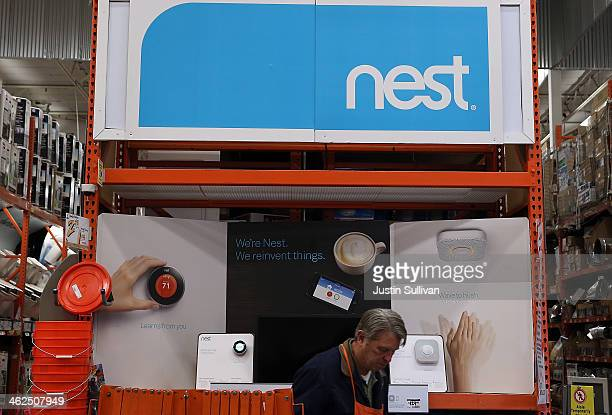 Nest products are displayed at a Home Depot store on January 13 2014 in San Rafael California Google announced today that it has acquired Palo Alto...