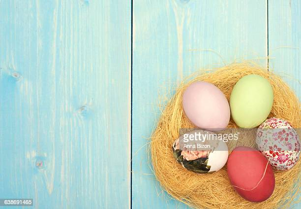 Nest with Easter eggs in the corner. Debica, Poland