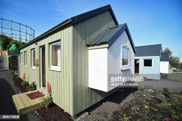 NestHouses are pictured during the launch of the Social Bite Village project in Granton Edinburgh in Scotland on May 17 2018 The Social Bite Village...