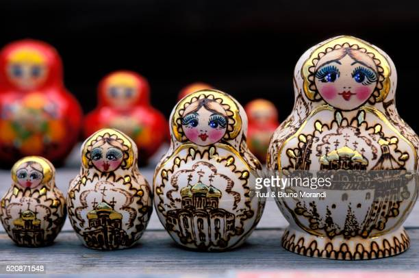 Nesting dolls at market in Moscow