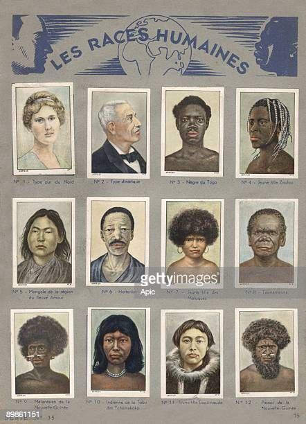 Nestle Album with vignettes found in chocolate human races North type Yugoslavia type Negro of Togo Zulu woman Mongolian Hottentot young woman from...