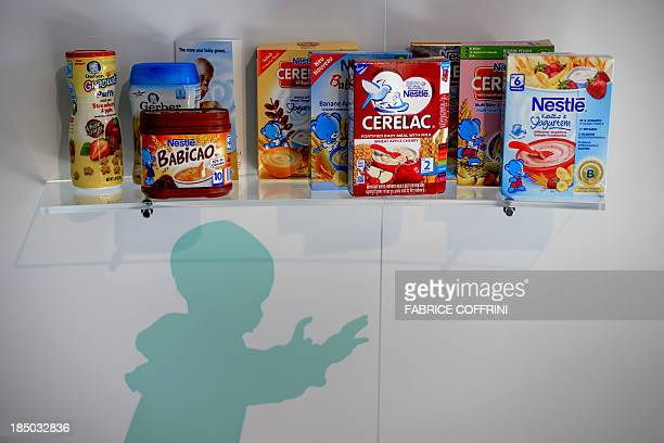 Nestle baby products are displayed at the headquarters of the world's biggest food company Nestle on October 17 2013 in Vevey The turnover of the...