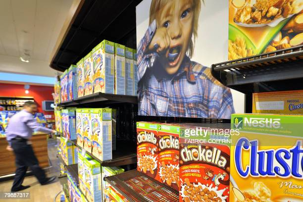 Nestle breakfast cereals are seen on February 21 2008 in a company supermarket at headquarters in Vevey The world's number one food manufacturer...