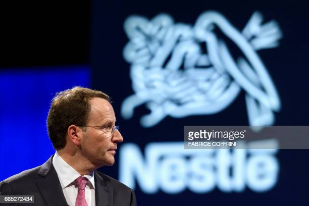 Nestle CEO Ulf Mark Schneider looks on during the annual shareholders meeting of Swiss food giant Nestle on April 6 2017 in Lausanne / AFP PHOTO /...