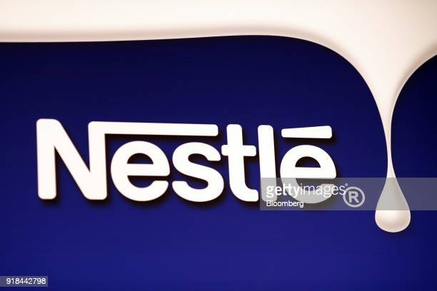 A Nestle logo is displayed ahead of a news conference announcing the company's full year results in Vevey Switzerland on Thursday Feb 15 2018 Since...